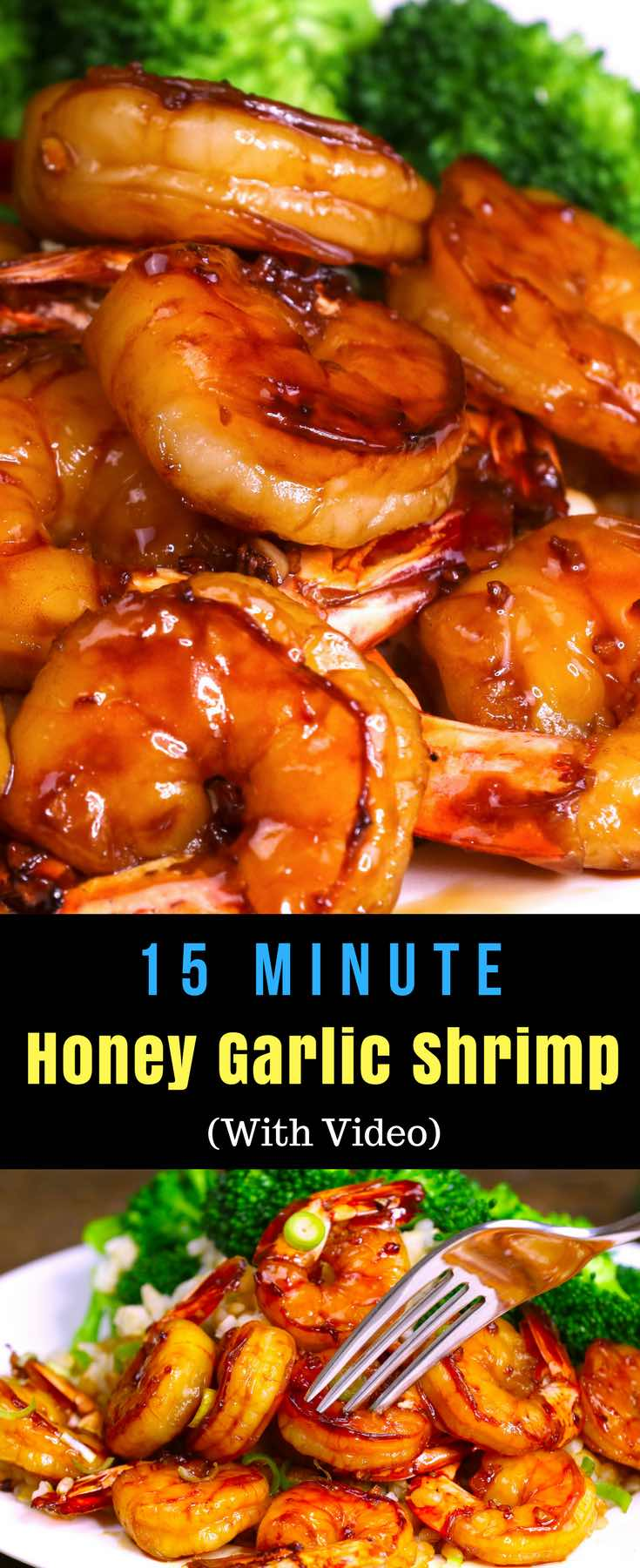 The easiest, most unbelievably delicious Honey Garlic Shrimp. And it'll be on your dinner table in just 15 minutes. Succulent shrimp marinated in honey, garlic, soy sauce and ginger mix, seared in frying pan. Ready in 15 minutes! Quick and easy dinner recipe. Video recipe. | Tipbuzz.com #EasyShrimp #ShrimpRecipe
