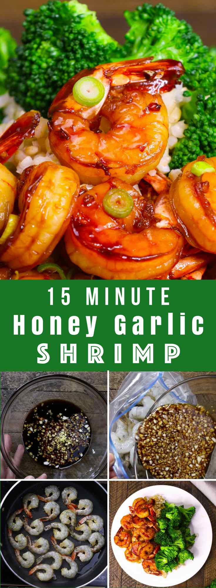 The easiest, most unbelievably delicious Honey Garlic Shrimp. And it'll be on your dinner table in just 15 minutes. Succulent shrimp marinated in honey, garlic, soy sauce and ginger mix, seared in frying pan. Ready in 15 minutes! Quick and easy dinner recipe. #EasyShrimp #ShrimpRecipe