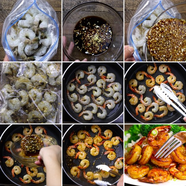 Honey Garlic Shrimp - this graphic shows the key steps for making this delicious and easy dish