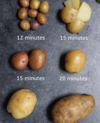 Comparison of different boiled potatoes with their corresponding boiling times to make it easy to determine how long to boil potatoes.