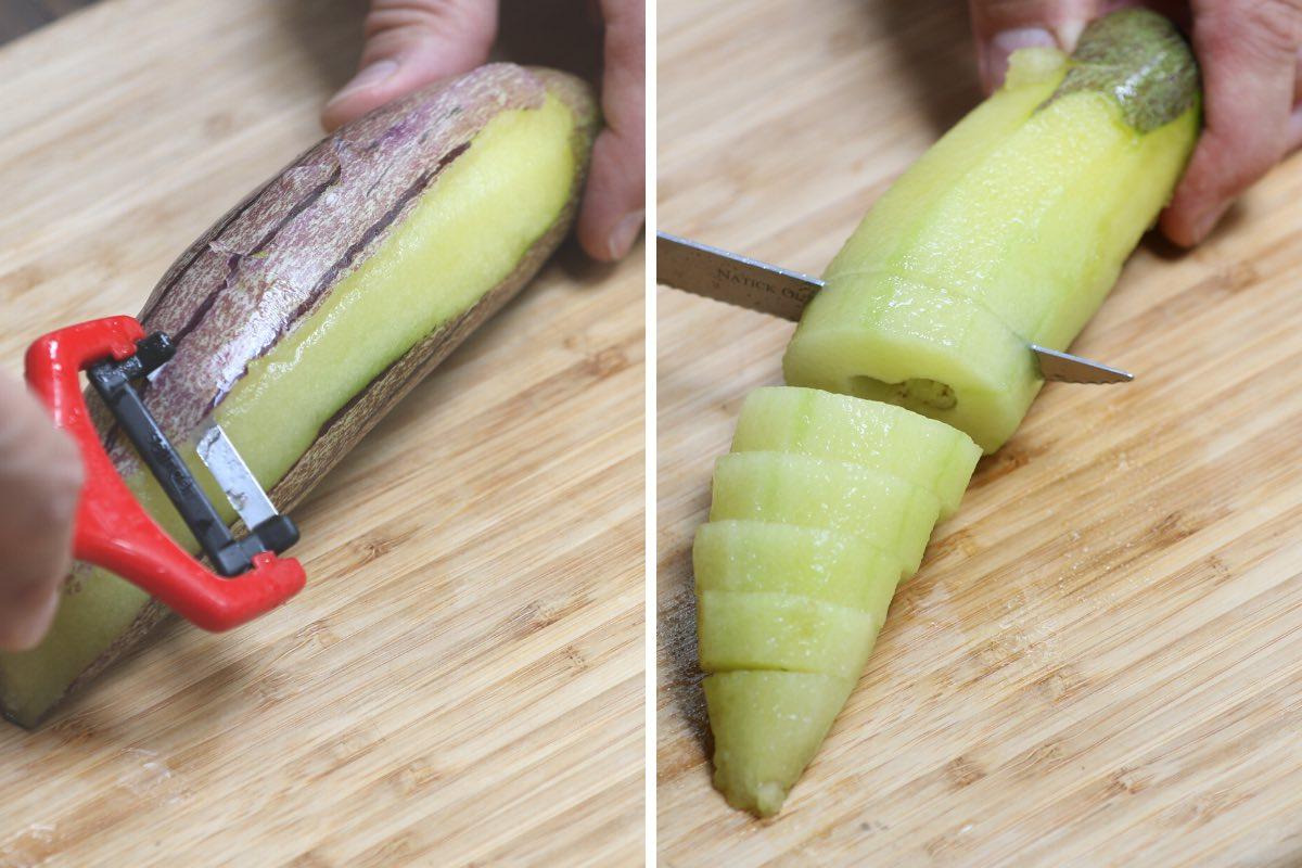 Peeling and slicing a pepino dulce