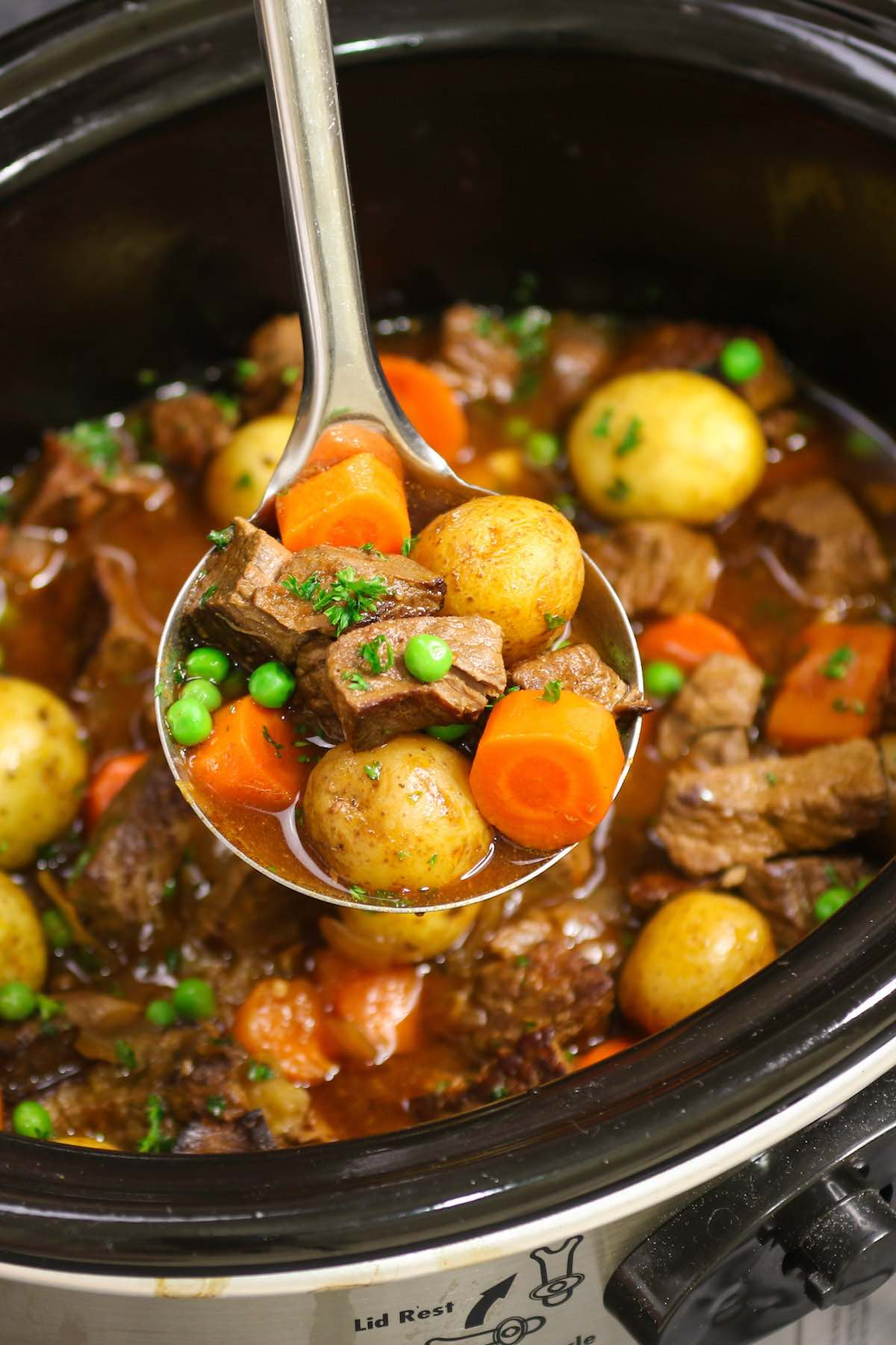 Classic beef stew after 8 hours of cooking in the crock pot