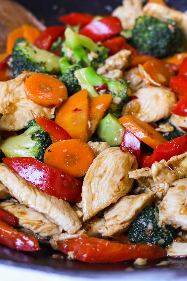 Hunan Chicken after being stir fried in a wok and ready to be served
