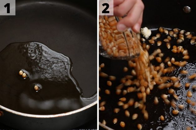 Adding popcorn kernels to a skillet containing hot oil