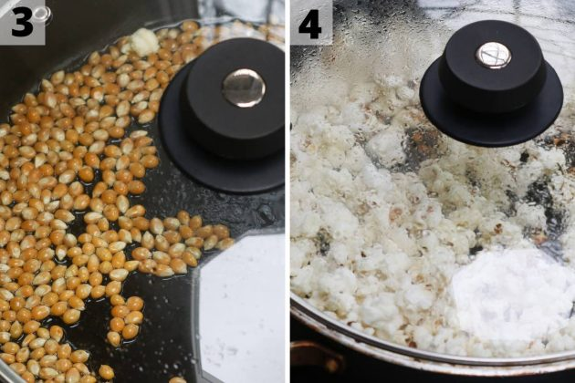 Popping kernels of corn in a covered skillet