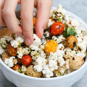Are you looking for the perfect at-home movie snack? Look no further than Hawaiian Hurricane Popcorn. This easy treat is crunchy and buttery, with a bit of sweetness. Made with popcorn kernels, Japanese rice crackers, and furikake, this easy stove-top recipe is so much better than microwave popcorn and it takes less than 10 minutes to make!