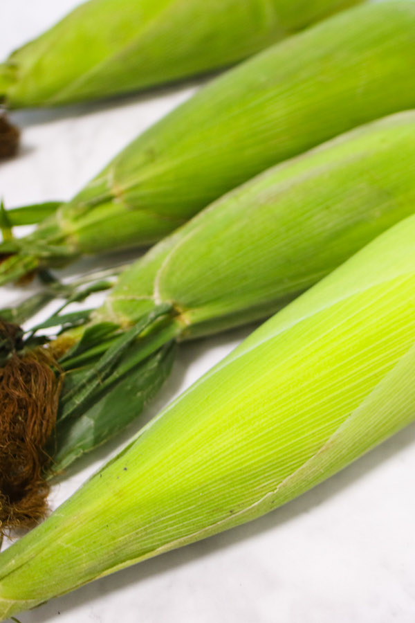 Fresh corn husks have a smooth green sheen with sticky tassels on the tops