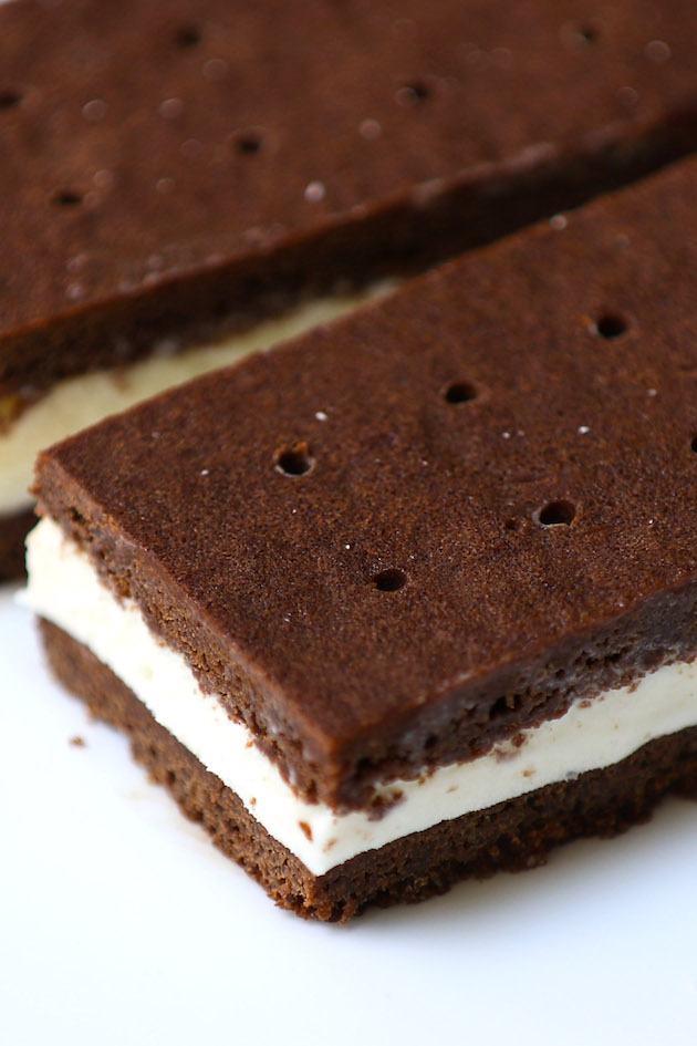 Closeup of a delicious homemade ice cream sandwich recipe with chocolate wafers and vanilla ice cream