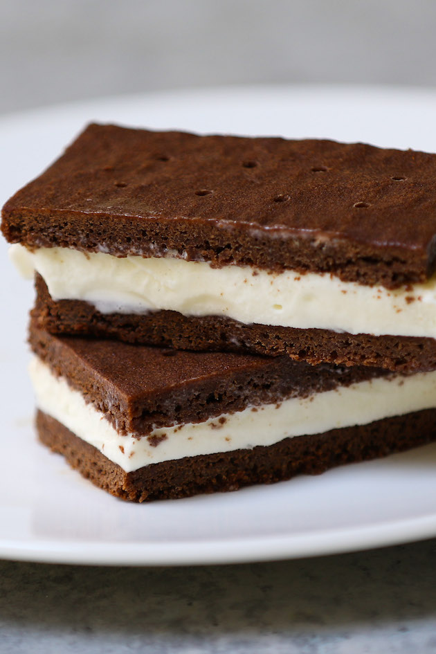 Delicious ice cream sandwiches made with homemade chocolate wafers and vanilla ice cream