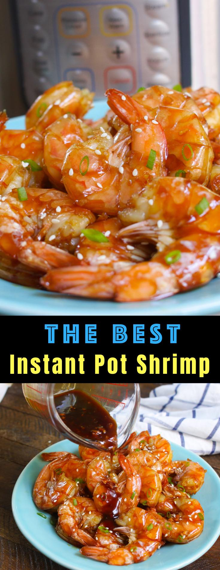 Instant Pot Shrimp with a delicious honey garlic sauce for an easy weeknight dinner or appetizer that's ready in just 15 minutes