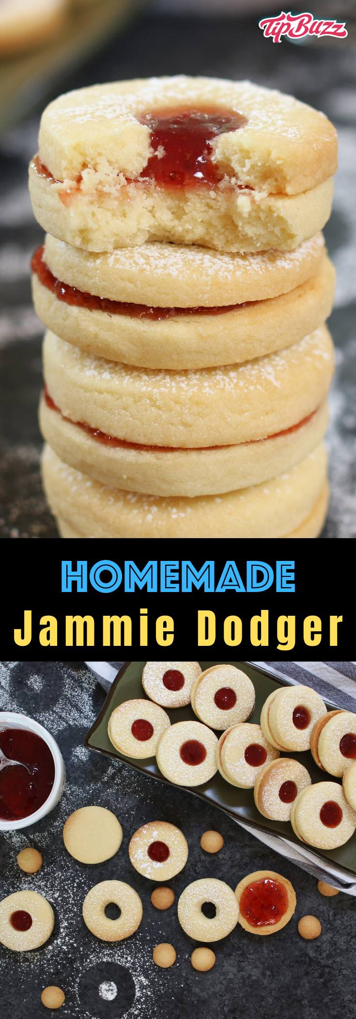 These soft and buttery homemade Jammie Dodgers are a UK staple! They are two shortbread biscuits sandwiched together with fruity jam such as strawberry or raspberry. I've packed all my tips in this post so that you can make them easily at home!