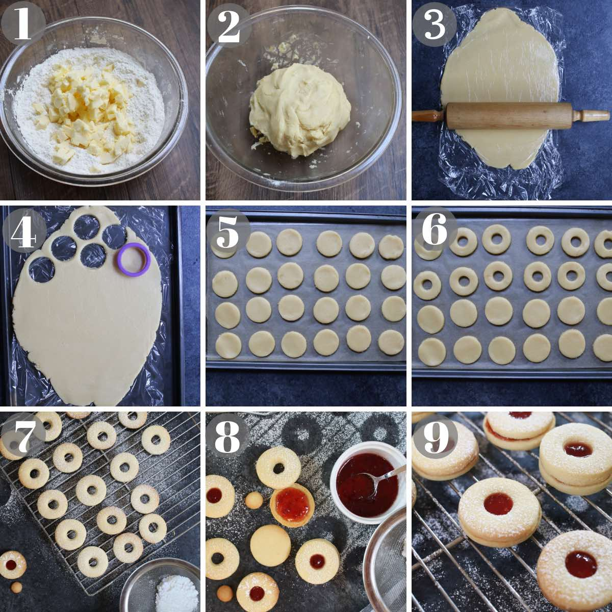 Step by step photo collage with 9 images showing how to make jammie dodger: from making the dough to assemble the cookie sandwiches.