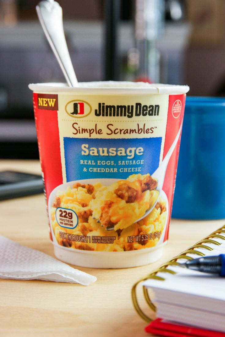 This is a photo of Jimmy Dean Simple Scrambles being eaten at work for an easy breakfast on the go