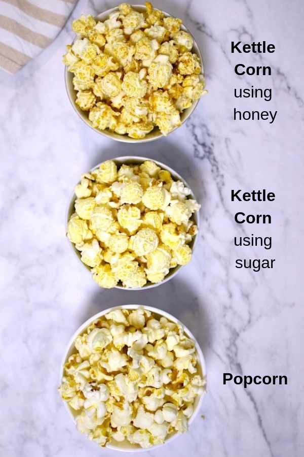 The photo shows kettle corn made with honey, kettle corn made with sugar and regular popcorn