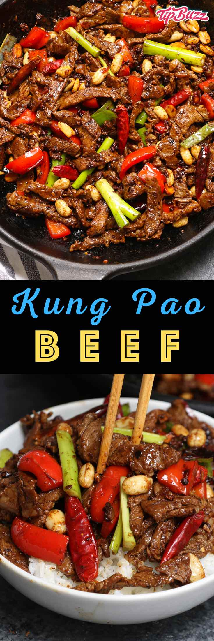 Kung Pao Beef is a fiery Szechuan dish with sweet and savory flavors just like kung pao chicken! Tender strips of beef are combined with seasonings and vegetables in this delicious stir-fry! #szechuanbeef #kungpaobeef