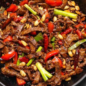 Kung Pao Beef in a cast iron skillet