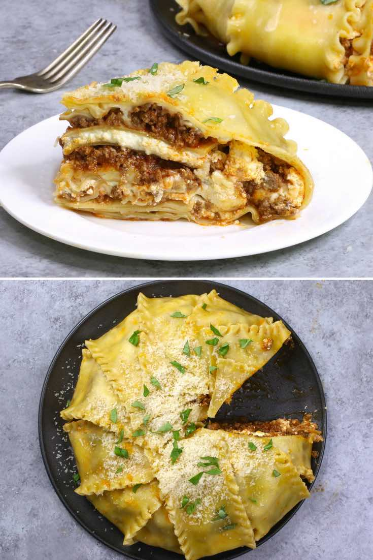 These photos show serving this party lasagna recipe
