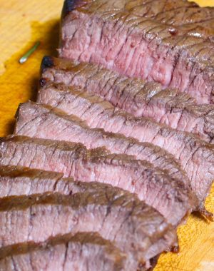 A serving of London Broil sliced thinly