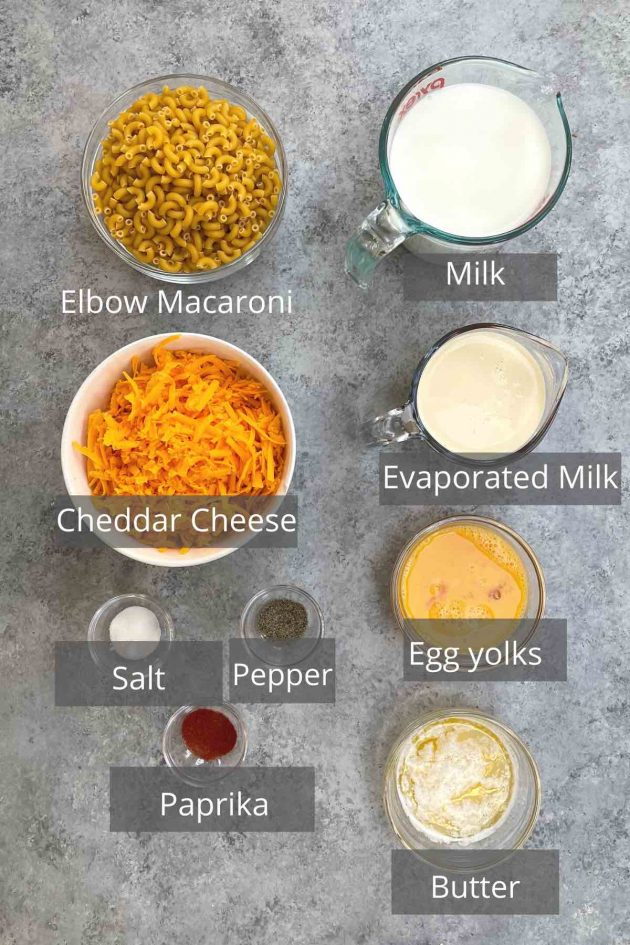 Ingredients for Trisha Yearwood Mac and Cheese