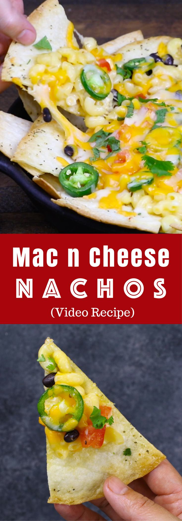 Mac and Cheese Nachos – Soft and creamy Mac & Cheese is balanced with crispy nachos, making perfect finger food for any party! So good! Video recipe. | Tipbuzz.com