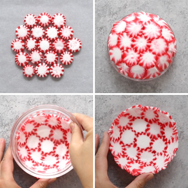 This graphic shows the key steps to making peppermint bowls: arranging, baking, molding and unmolding.