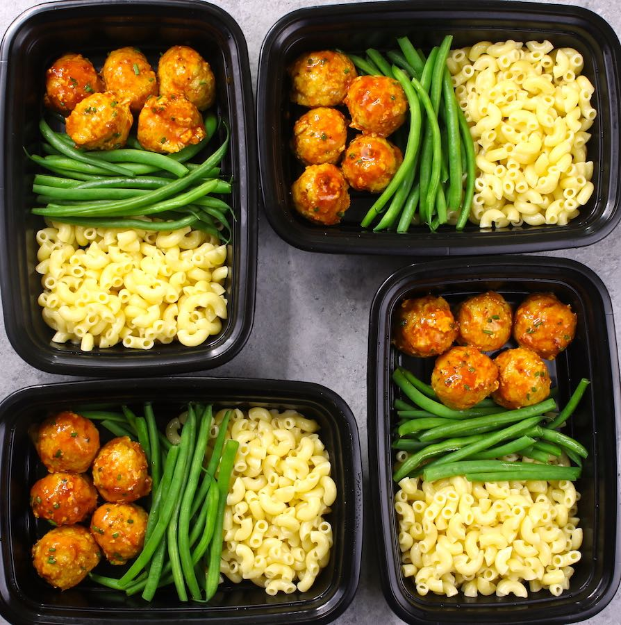 BBQ Meatball Meal Prep - delicious BBQ chicken meatballs with cooked pasta and green beans in meal prep containers for the week
