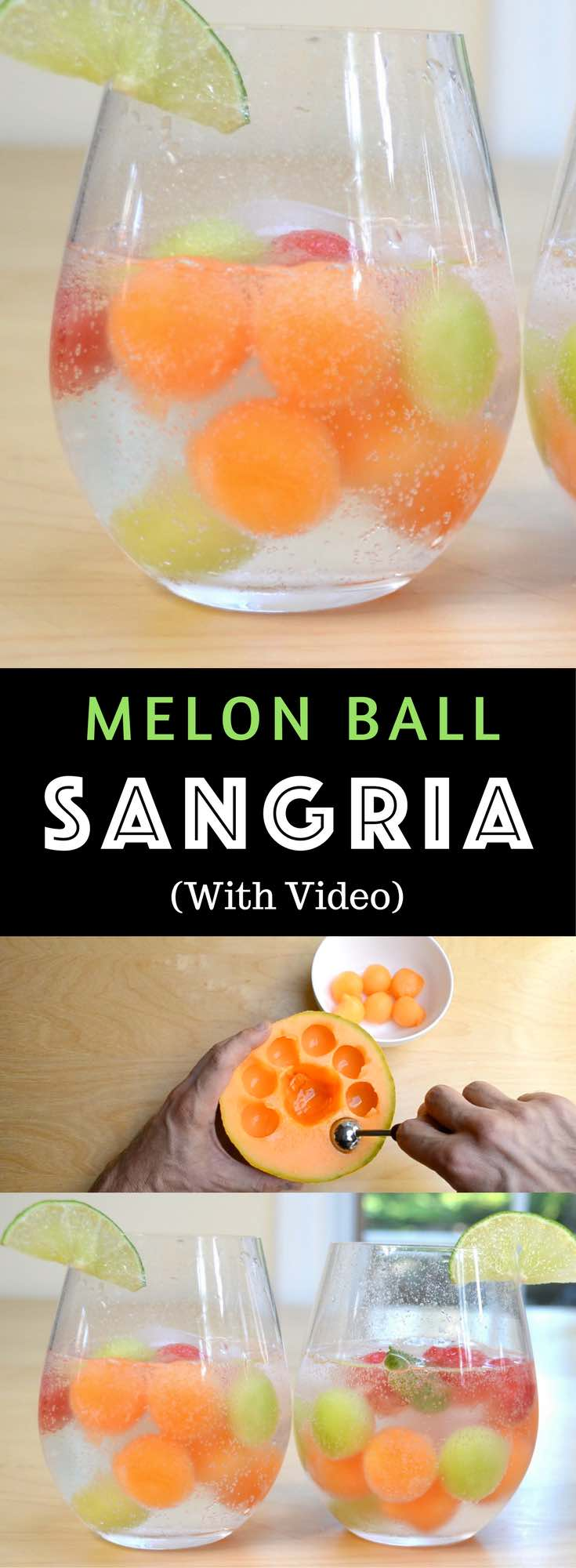 Easy Melon Ball Sangria – Refreshing and delicious melon ball sangria, the most beautiful sangria recipe! All you need is only a few ingredients: watermelon, cantaloupe and honeydew melons, moscato wine, sugar, lime, and sparkling water. Easy drinks recipe. Video recipe. | Tipbuzz.com