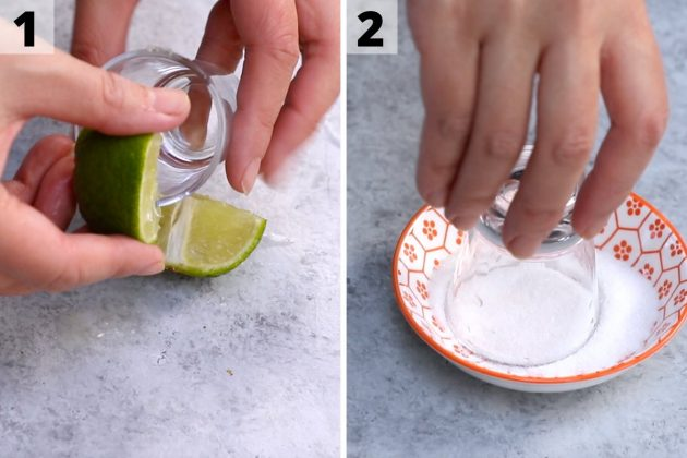 Mexican candy shot recipe: step 1 and 2 photos.