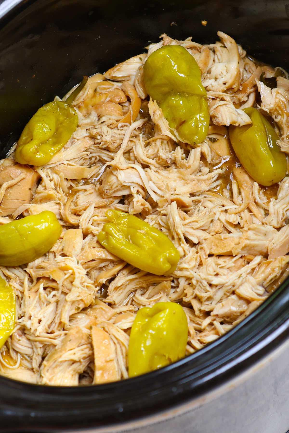 Shredded Mississippi Chicken in the crock pot
