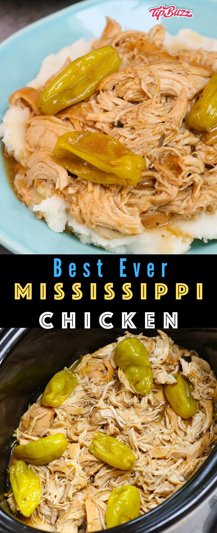 Mississippi Chicken is an easy crockpot recipe with just 5 minutes of prep time and 5 ingredients, delicious served with mashed potatoes or on a bun #mississippichicken