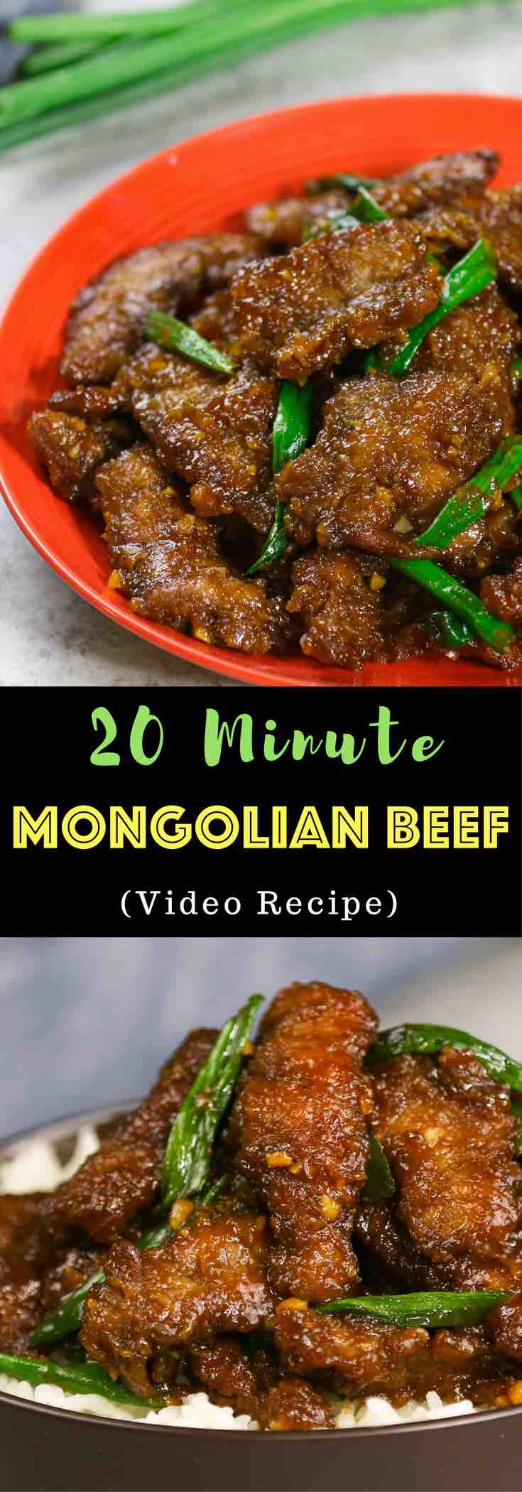 Mongolian Beef - a copycat recipe for the PF Changs Chinese-American menu item featuring tender beef with a sweet garlic and ginger sauce, perfect for a quick lunch or dinner that's easy to make in just 20 minutes. Video recipe. tipbuzz.com