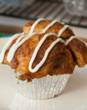 These Monkey Bread Muffins are a delicious and easy dessert recipe with icing on top