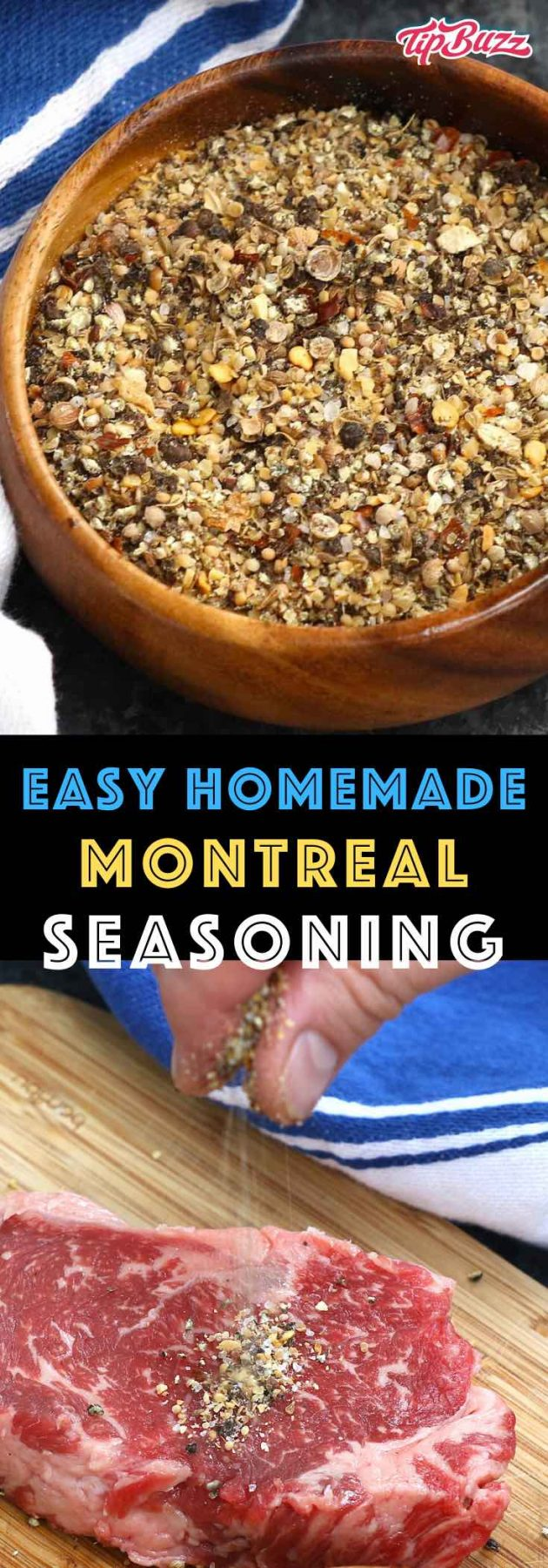 Montreal Steak Seasoning is a delicious rub that enhances the natural flavors of steak and other meats. You can use this homemade recipe for grilling, broiling or pan frying. So much better than storebought! #MontrealSeasoning #SteakSeasoning