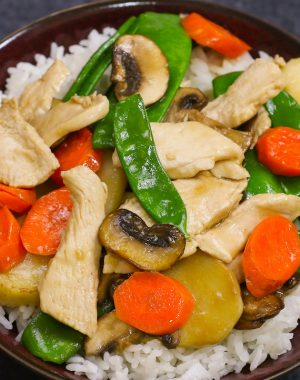 Moo Goo Gai Pan is one of my all time favorite dishes. Tender chicken slices are stir-fried with vegetables in a delicious moo goo gai pan sauce. It's an easy and healthy weeknight dinner your whole family will love!
