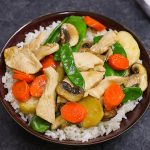 Moo Goo Gai Pan - delicious Chinese mushroom and chicken dish served in a rice bowl