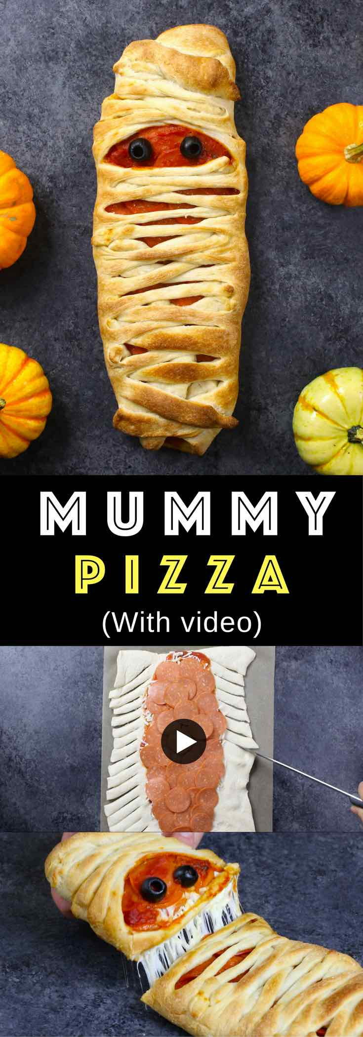 This Mummy Pizza will add some spooky fun to your Halloween celebrations! It's easy to make with a refrigerated pizza dough, pizza sauce, cheese, pepperoni and an olive for eyes. You can serve it as either an appetizer or light dinner before trick-or-treating! #mummypizza