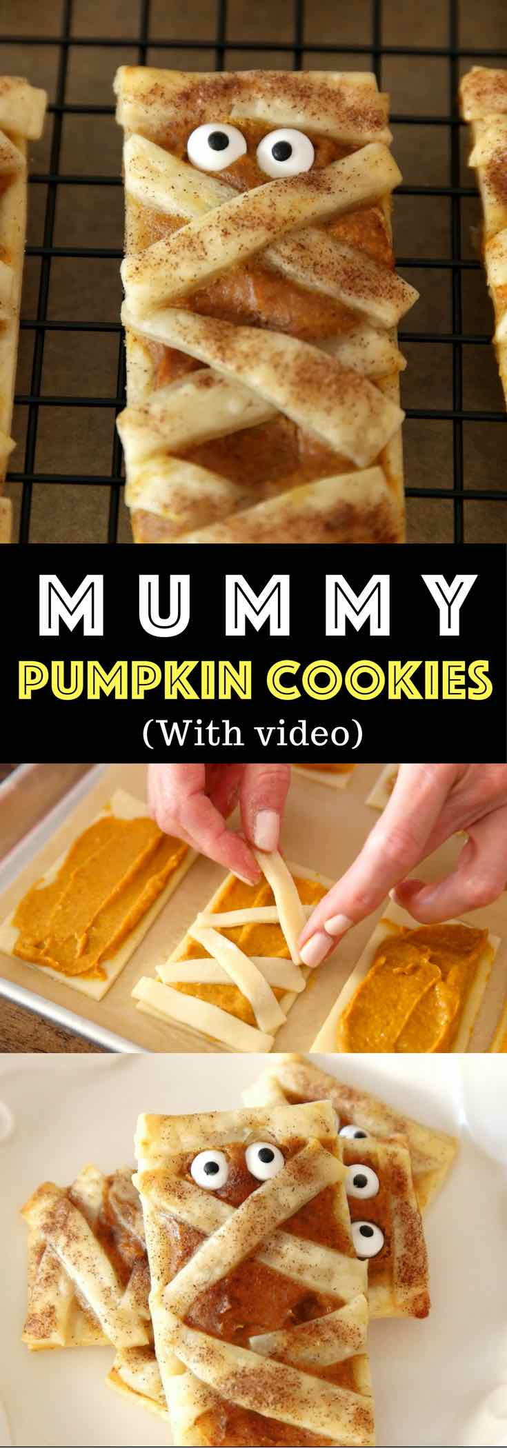 These delicious and soft Mummy Pumpkin Cookies make for a perfect party treat. They melt in your mouth. All you need is only a few simple ingredients. Fun recipe to make with kids. Dessert, Party Food. Vegetarian. Fun and yummy Halloween recipe. Video recipe. | Tipbuzz.com