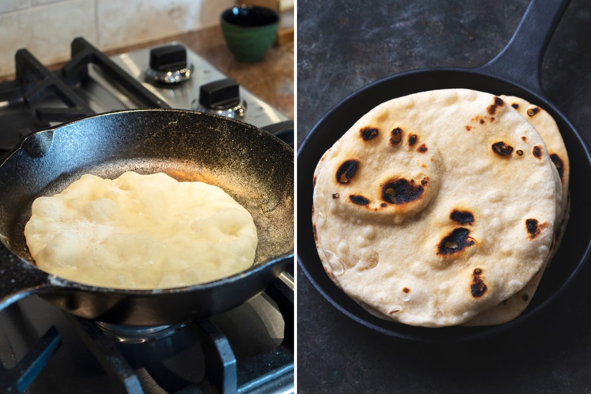Cooking naan in a skillet on the stove top