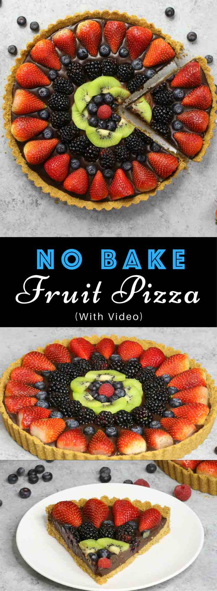 No Bake Fruit Pizza Chocolate Tart – simple and decadent fruit tart that's unbelievably beautiful and delicious. It has a graham cracker crust and smooth creamy chocolate filling, topped with fresh fruits. All you need is a few simple ingredients: graham cracker, butter, chocolate, heavy cream and fresh fruits. A simple dessert you whole family will be obsessed with. Perfect for summer parties. Quick and easy, dessert recipe. vegetarian. Video recipe. | tipbuzz.com