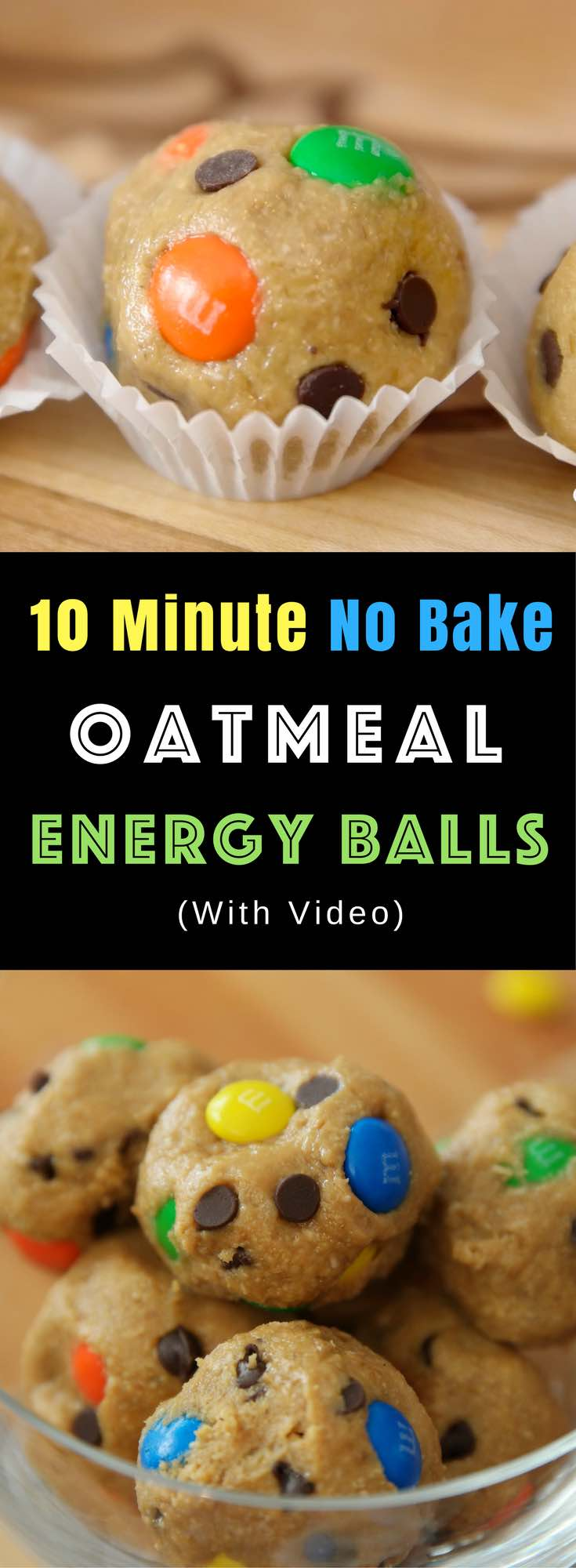 No-Bake Monster Oatmeal Energy Balls – chewy, crunchy and sweet bite-sized cookie balls that's so easy to make. One of the easiest snack recipe that takes only 10 minutes to make. No eggs or flour is required. All you need is just a few ingredients: rolled oats, peanuts, flaxseed meal, peanut butter, coconut oil, maple syrup, vanilla extract, chocolate chips and M&Ms