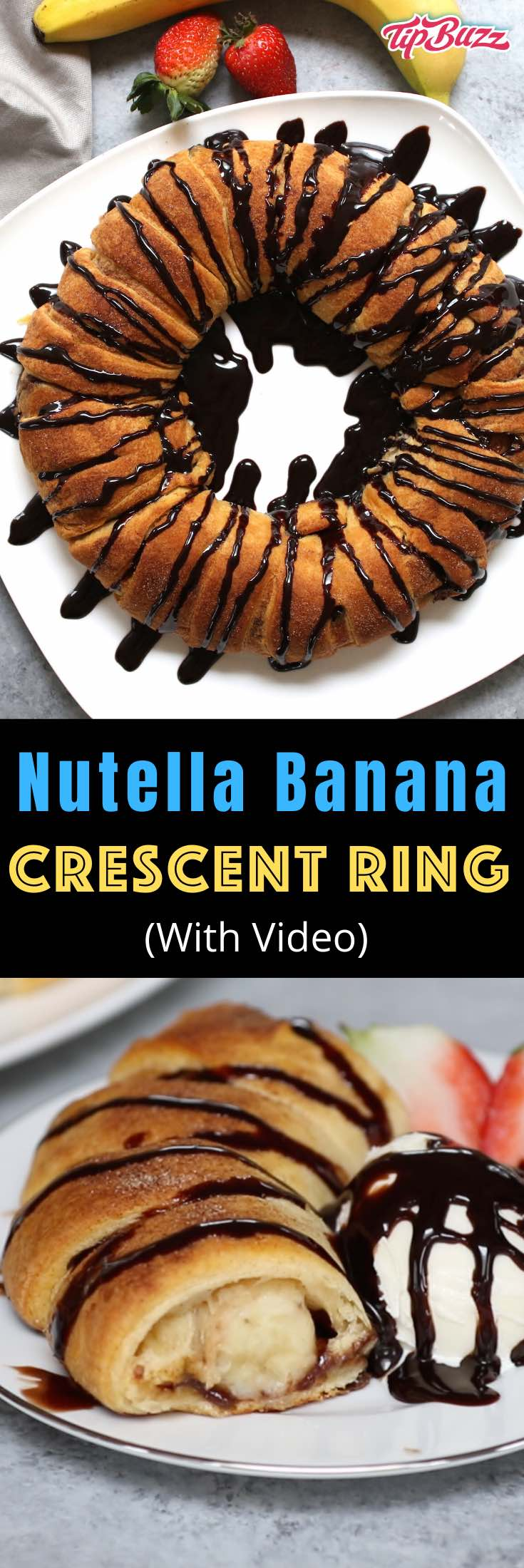 Nutella Banana Crescent Ring is a mouthwatering combination of Nutella and banana in a unique flakey pastry ring. It's a festive idea for a party with a stunning presentation, perfect for brunch or get-togethers. Plus video tutorial!