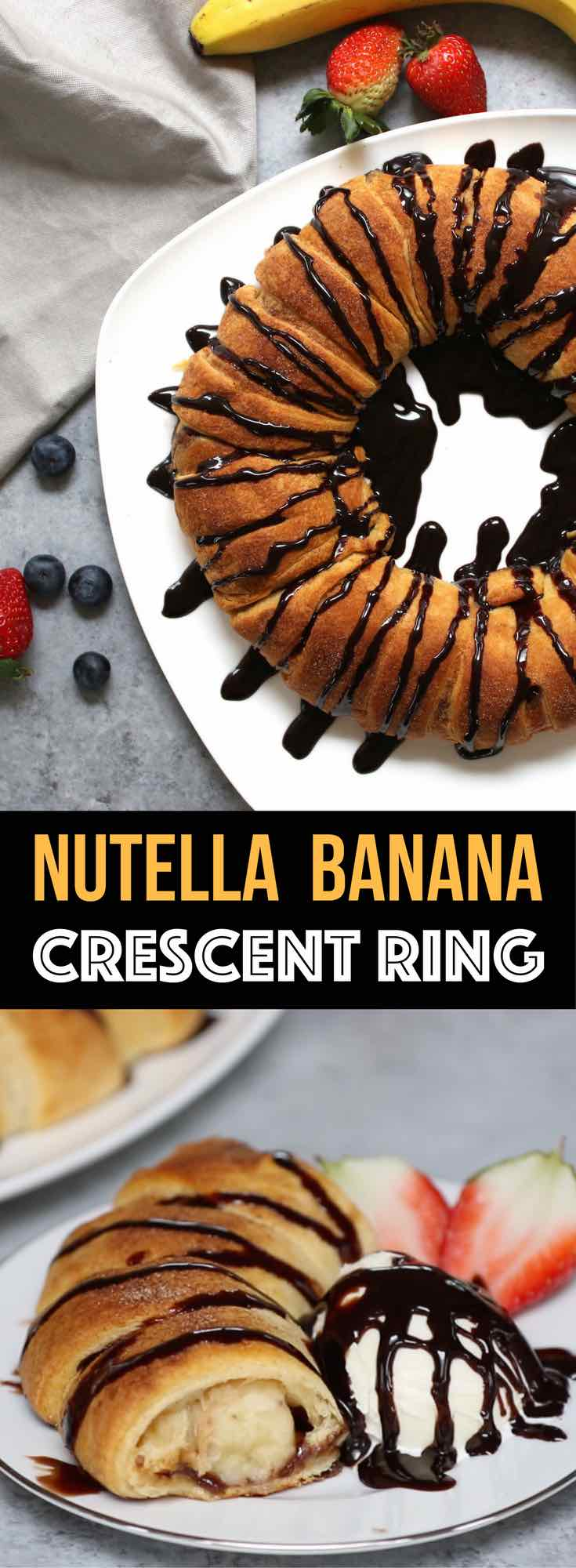 This beautiful Nutella And Banana Stuffed Crescent Rolls Ring will be everyone's favorite dessert choice. Stuff a crescent roll with Nutella and banana, then sprinkle cinnamon sugar, and bake! Drizzle with chocolate and serve with ice cream. Perfect for brunch as well. So good! Quick and easy recipe. Video recipe.