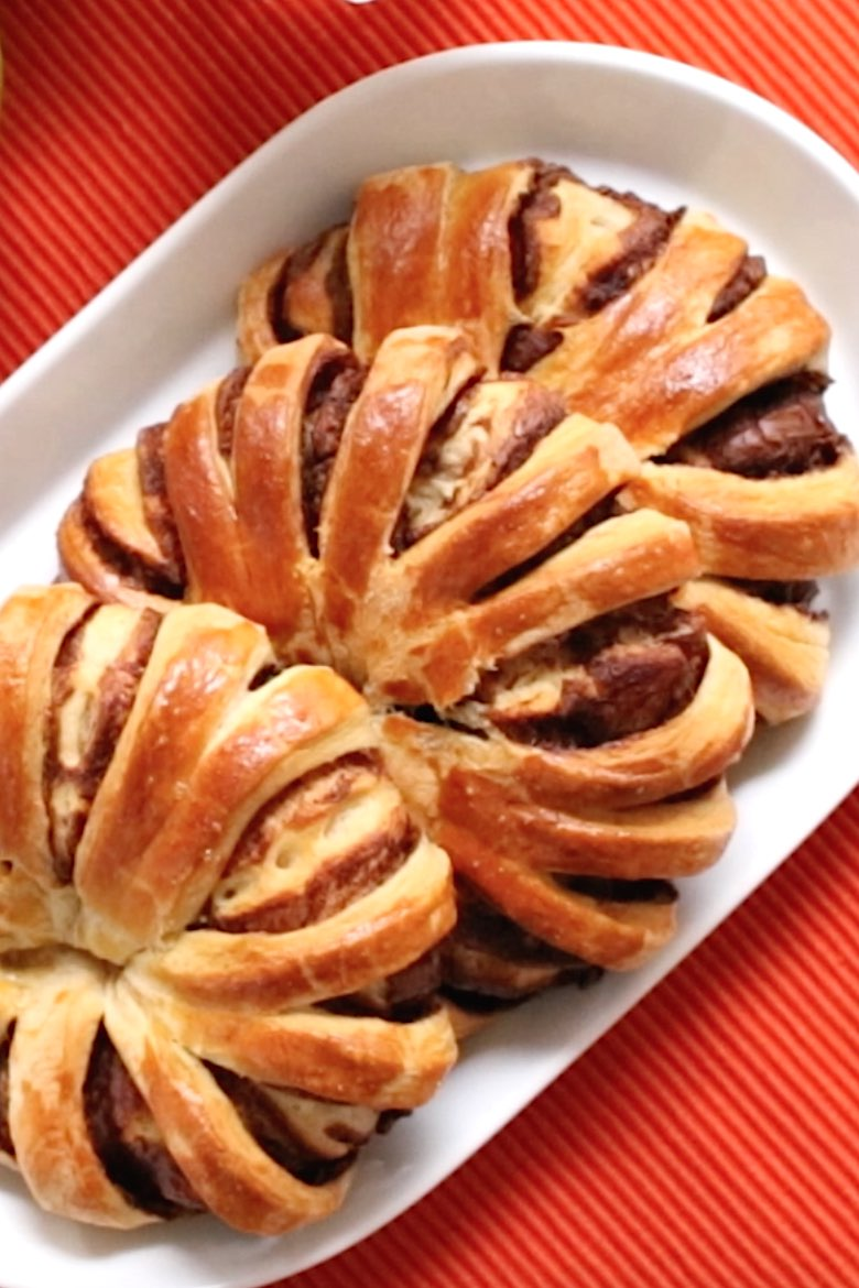 Freshly made Nutella bread on a serving plate