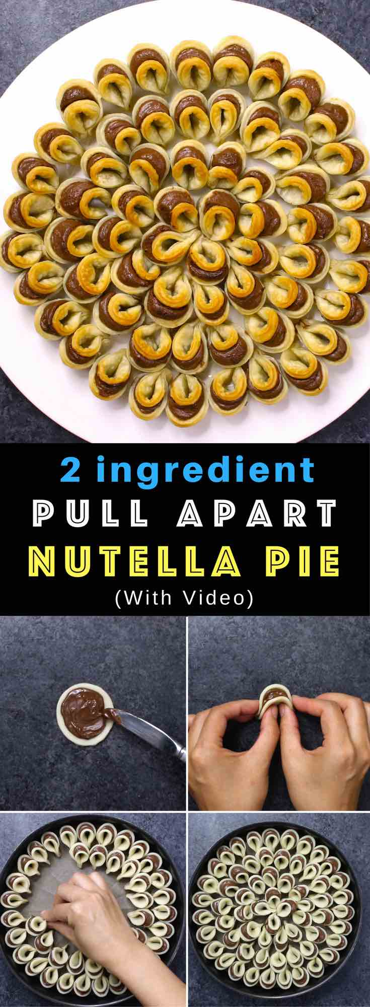 Easy Nutella Pie Pull Apart – A beautiful pull apart pie with only 2 ingredients: pie crust and Nutella. Great for sharing at a party. So good! Simple and easy recipe. Vegetarian. Video recipe. #nutellapie #easypierecipe #2ingredients #quickandeasydessertrecipes #quickandeasydessert #videorecipes #vegetarian #easydessert #easycooking #easyrecipe #nutella #pie #fallrecipes #partyrecipes