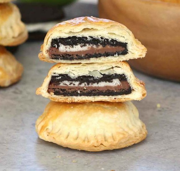 Cross-sectional view of Oreo Puffs with Nutella #oreopuffs