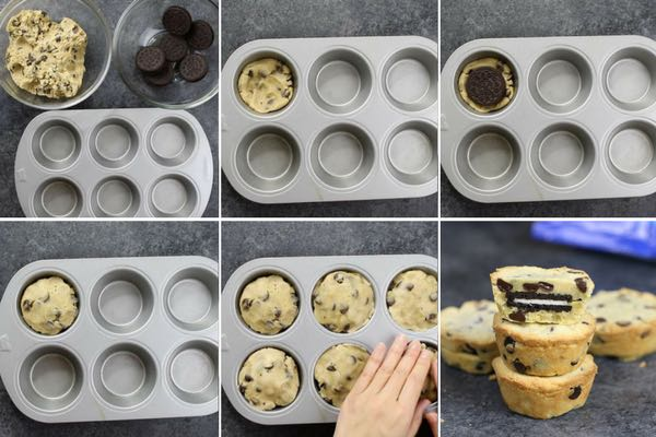 Process photo showing the steps for making oreo chocolate chip cookies