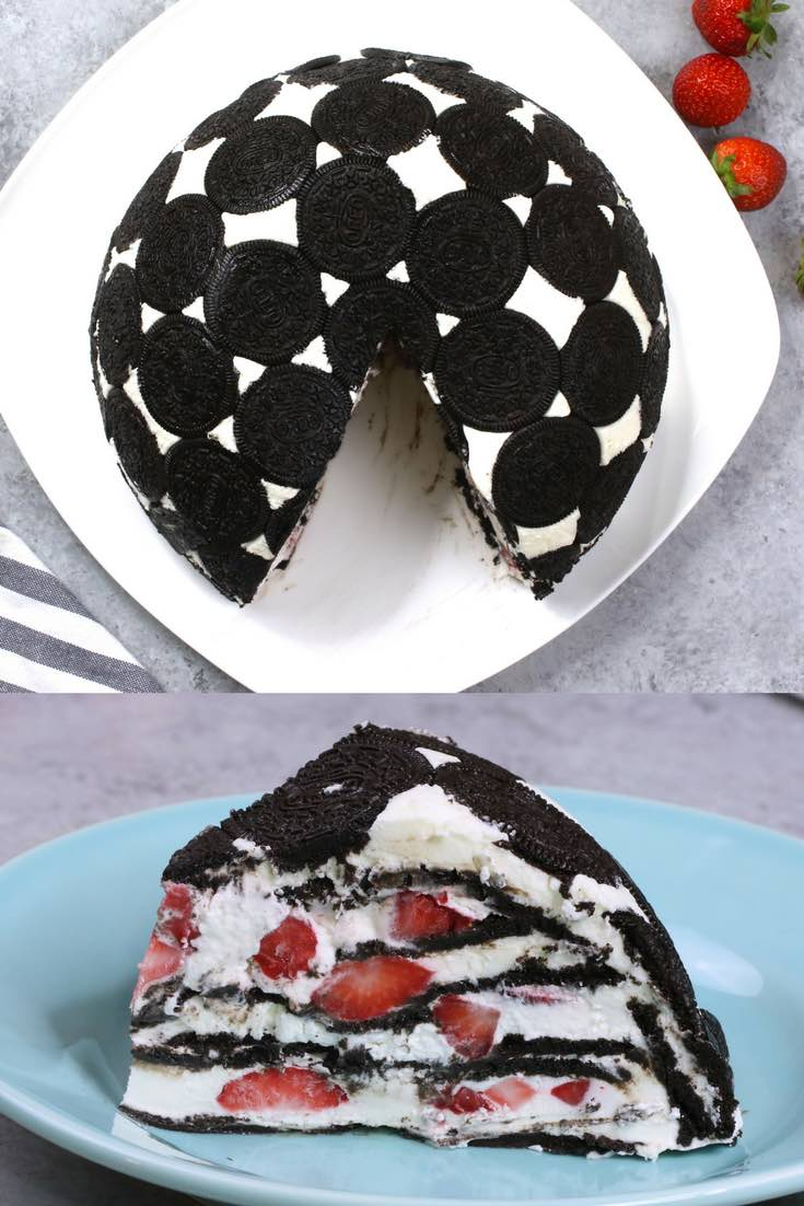 Easy Oreo Cake – So delicious and super easy to make with only a few simple ingredients: Oreos, cream cheese, sugar, cool whip, milk and strawberries. So Good! The perfect quick and easy dessert recipe. Party food. No bake. Video recipe. | tipbuzz.com