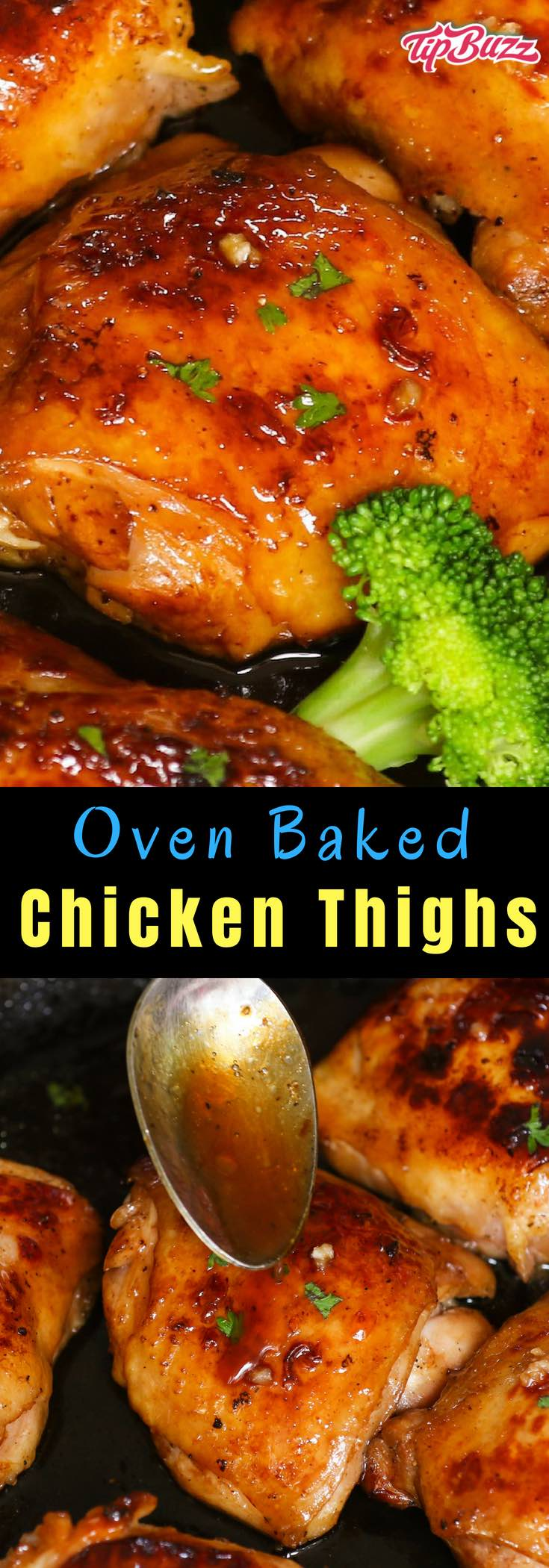 Oven Baked Chicken Thighs are juicy, tender and full of flavor. With a few tips and some simple ingredients, this never-dry chicken thighs with restaurant quality can be easily made at home!