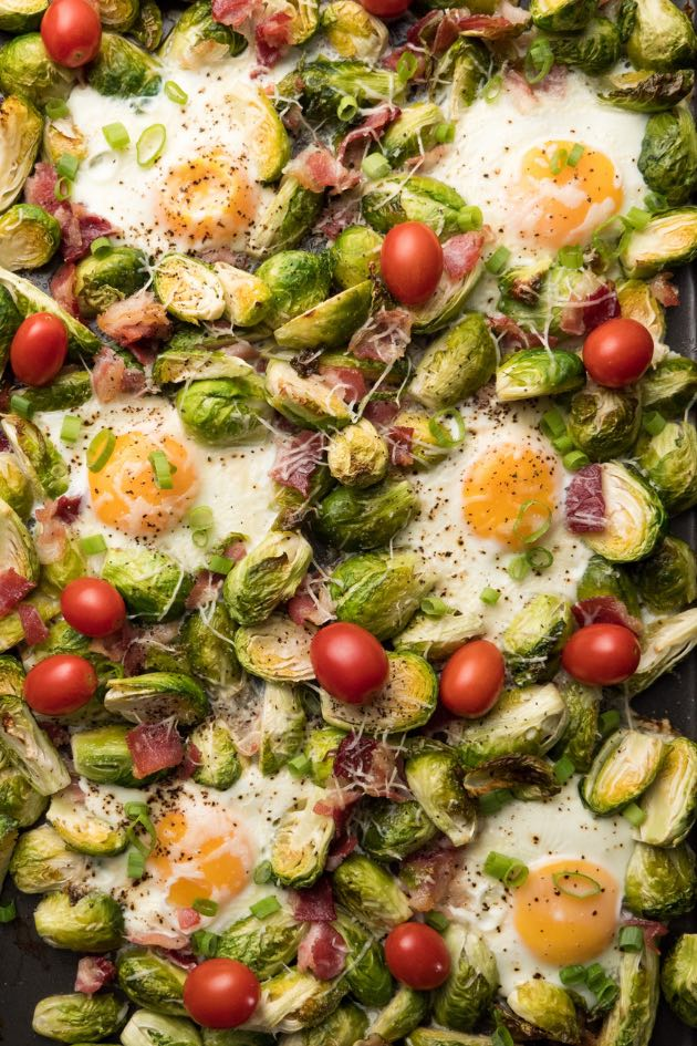 Oven baked eggs with Brussel Sprouts made on a sheet pan