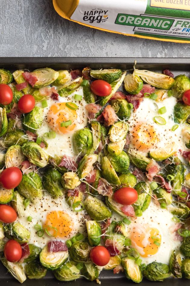 Sheet pan oven baked eggs with Brussels sprouts for a delicious breakfast or brunch
